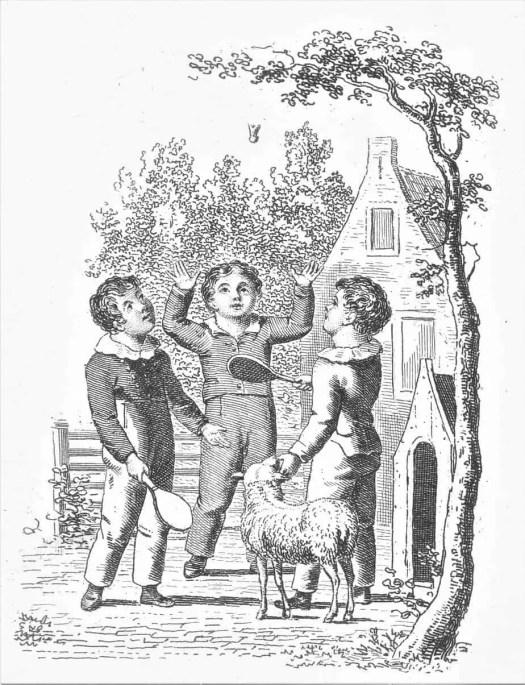 Drie kinderen spelen badminton of pluimbal, Johannes Alexander Rudolf Best, 1807 - 1855