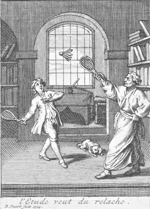 Een leraar speelt badminton met zijn leerling, Bernard Picart, after Gerard de Lairesse, 1714