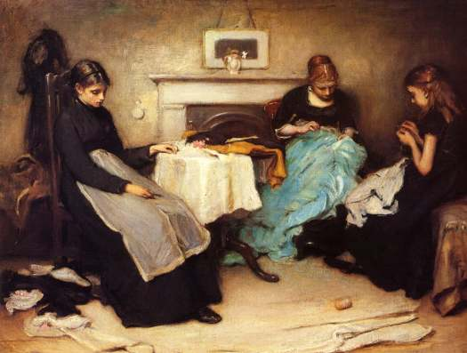 Frank Holl - The Song of the Shirt 1874 sewing