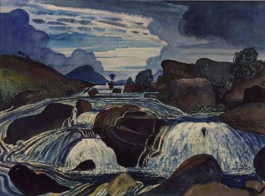 James Dickson Innes The Waterfall 1910 rocks