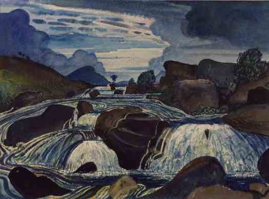 James Dickson Innes The Waterfall 1910 rocks