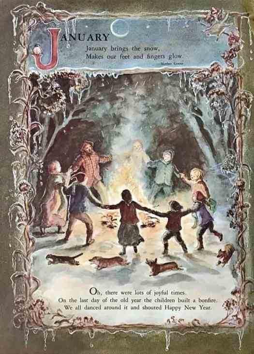 January from A Time to Keep, my Book of Holidays written and illustrated by Tasha Tudor, published by Macmillan, New York, 1977 bonfire