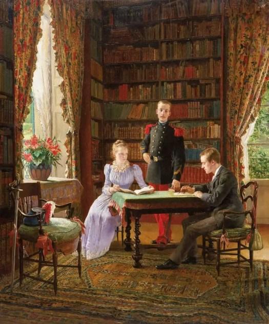 Maurice Leloir - In the Library 1890