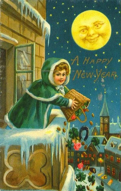 New Year postcard by Schmucker