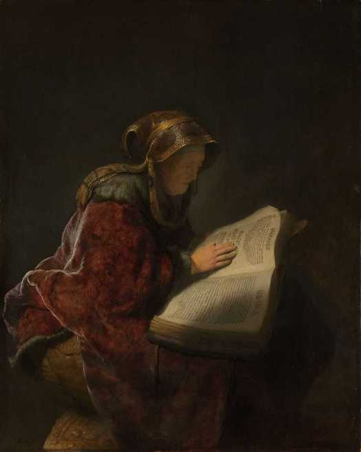 Old Woman Reading, Probably the Prophetess Anna, Rembrandt van Rijn, 1631, Biblical figure who served God via fasting and prayer