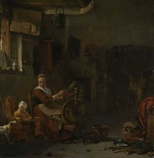 Peasant Woman Spinning, Thomas Wijck, 1640 - 1677