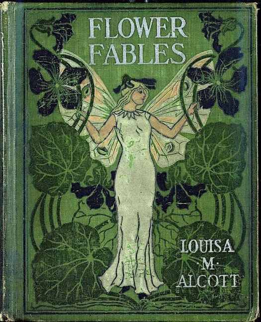 Printed Cloth 'Flower Fables', by Louisa May Alcott. Published 1854, her first book, green
