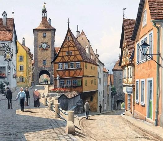 Richard Pokorny, Austrian (1907-1997) Rothenburg street, slope