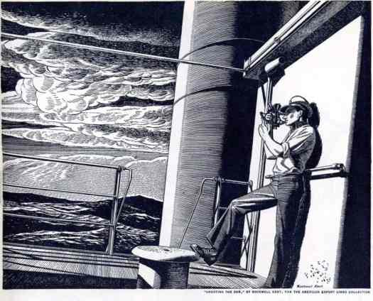 Rockwell Kent (1882–1971) Shooting the Sun, illustration for an advertisement for American Export Lines from the April 1946 Atlantic Monthly
