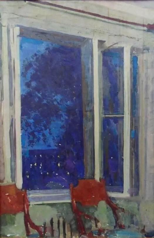 Sergey Gerasimov (Russia, 1885 - 1964) At Maslovka,Evening, 1958 window night red chairs