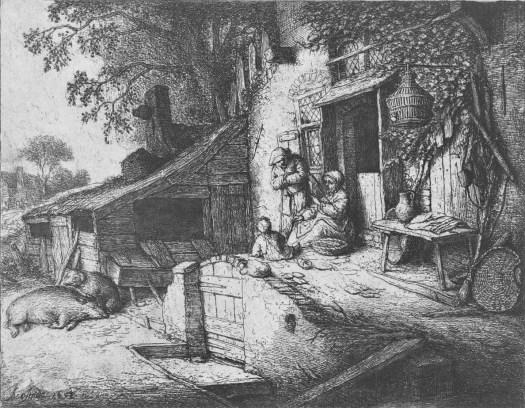 Spinnende vrouw voor een huis, Adriaen van Ostade, 1652