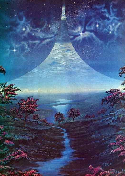 Steven Vincent Johnson (born 1952) 1979 book cover illustration for Ringworld by Larry Niven