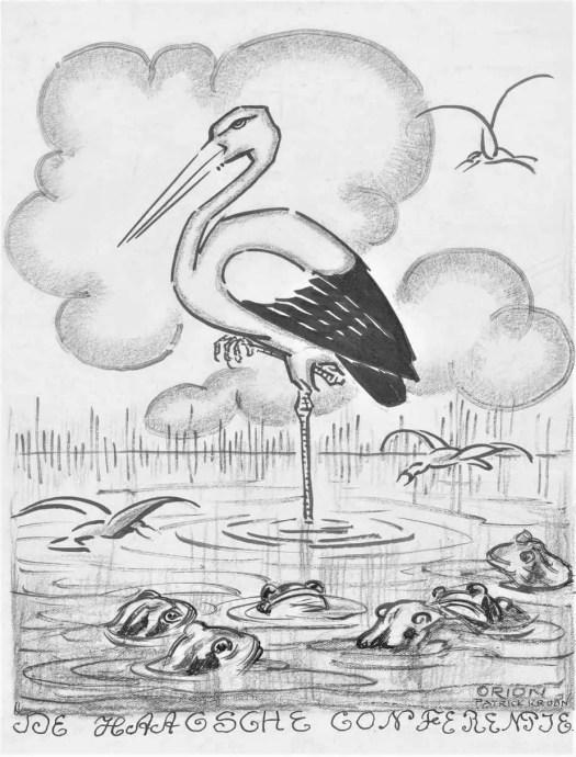 Stork between frogs, Patricq Kroon, 1900 - 1935