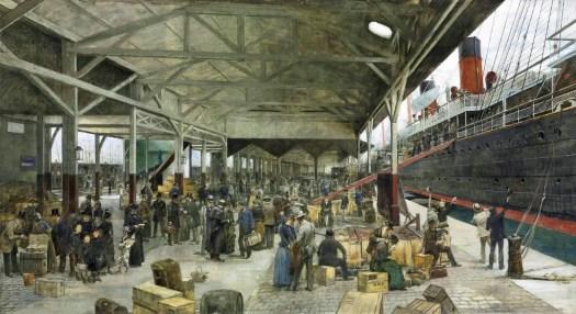 Théophile Poilpot - Embarkation of La Normandie at Havre 1889