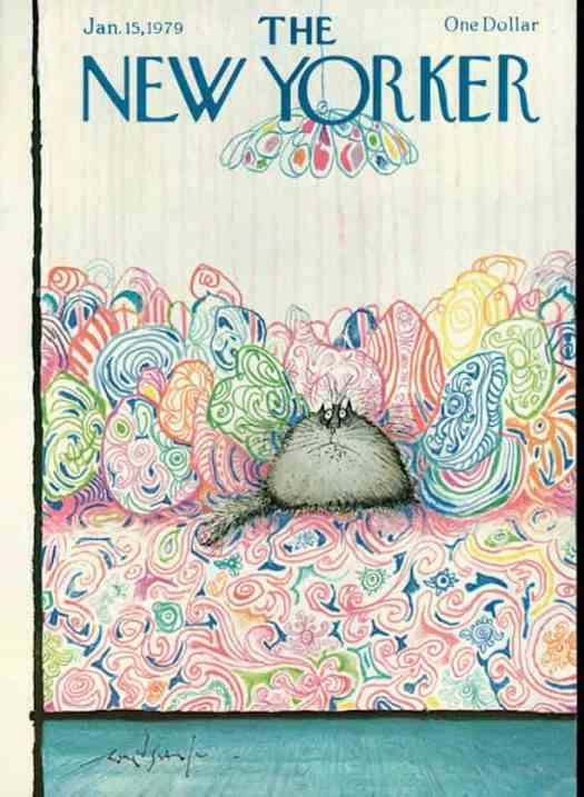 The New Yorker Cover - January 15, 1979 - Ronald Searle, this time disguised as a cushion (sort of)