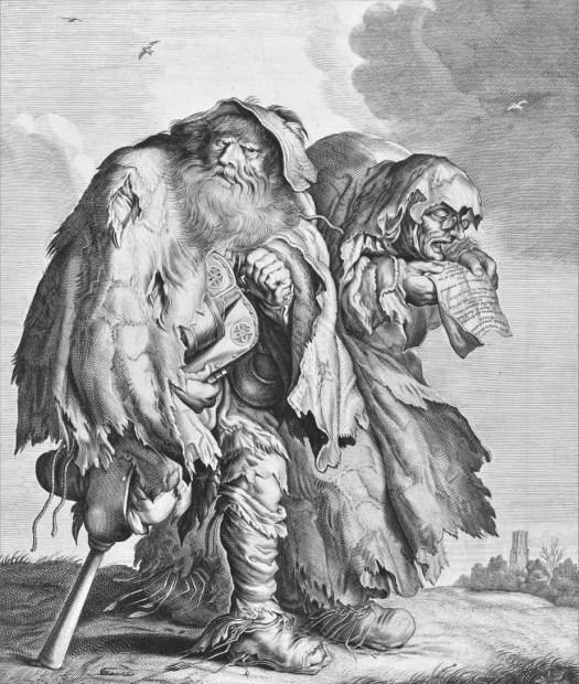 Two Beggars, Adriaen Matham, after Adriaen Pietersz. van de Venne, 1620 - 1660