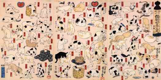 Utagawa Kuniyoshi, Cat Lover's Animal Puns of the Tōkaidō, 1847-52 collage sheet