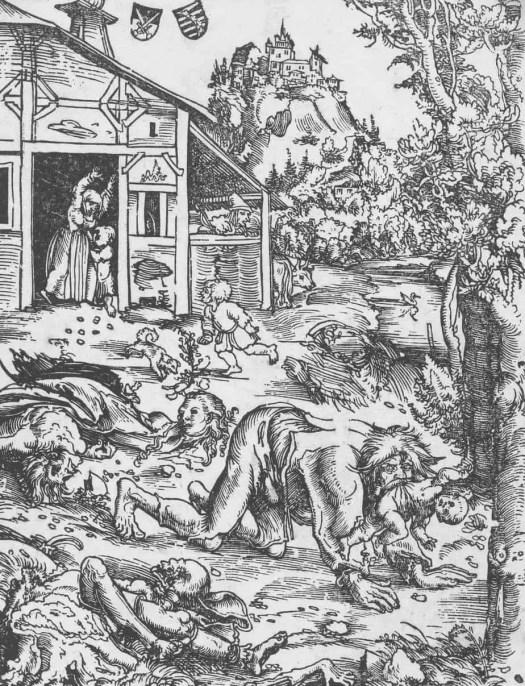 Werewolf with child and torn bodies, Lucas Cranach (I), 1510 - 1515