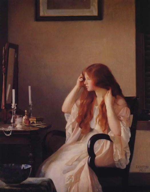 William McGregor Paxton - Girl Combing Her Hair