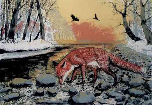 a Silkscreen print by Tim Southall and titled 'Winter Fox'