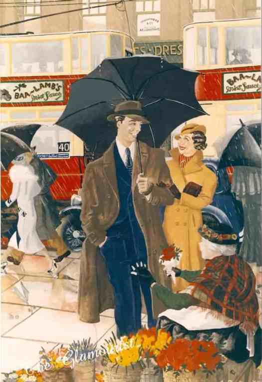 'April Showers, 1933' by Martin Faulkner umbrella rain