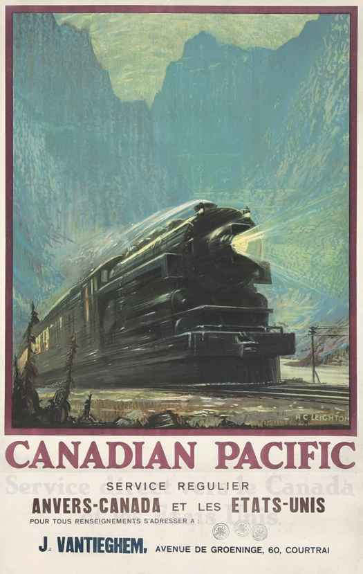 Alfred Crocker Leighton (1901-1965) Canadian Pacific Railway poster for use in the travel market in Belgium, ca 1930