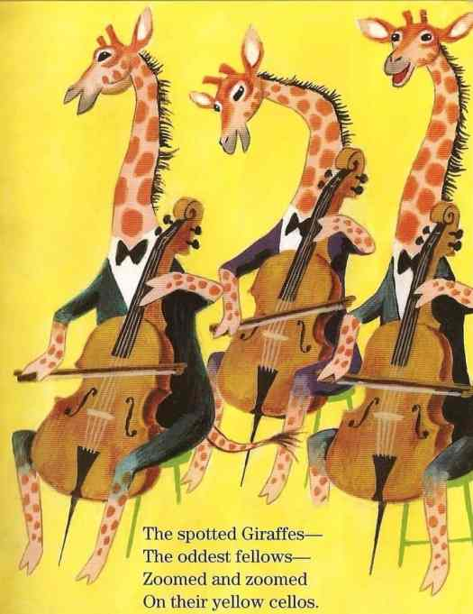 Hungarian-American illustrator Tibor Gergely. (1900 - 1978) giraffes cellos