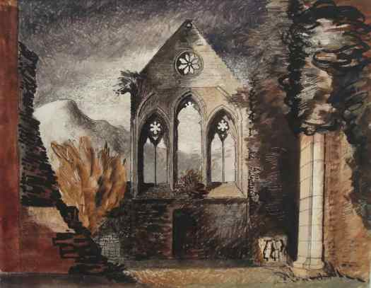 John Piper, (English, 1903 – 1992), Valle Crucis Abbey, 1940, mixed media