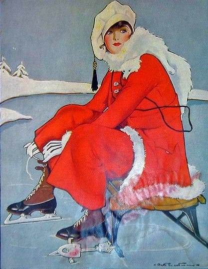 Mc Call's Magazine Illustration, January 1916 Cover ice skating