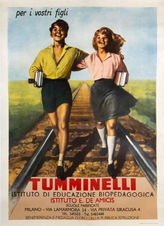 Poster by Boccasile, circa 1950 train track walk to school