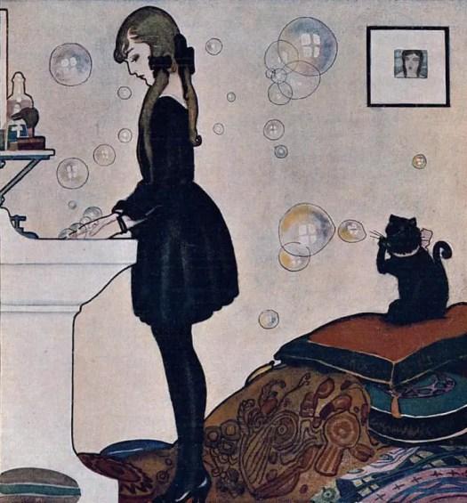 Rafael de Penagos, illustration for the perfumery Floralia (also reproduced on the cover of La Esfera, 1926) girl cat