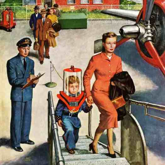 Space Traveller Saturday Evening Post Cover, November 8, 1952 by Amos Sewell