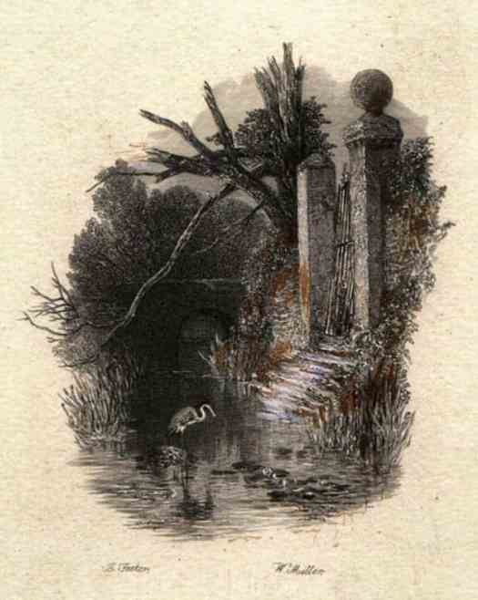 The Haunted House 'And in the weedy moat the heron,' engraving by William Miller after Birket Foster, published in Hood's Poems p45 illustrated by Birket Foster, E. Moxon, Son & Co., London 1872