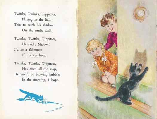 The Ladybird Book Of Bedtime Stories Geoffrey Lapage, Illustrations George Brook (Wills & Hepworth Ltd., Loughborough UK, 9th edition 1950)  cat shadow