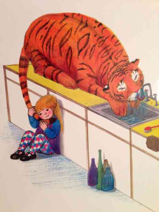 The Tiger Who Came To Tea drinking from tap Judith Kerr