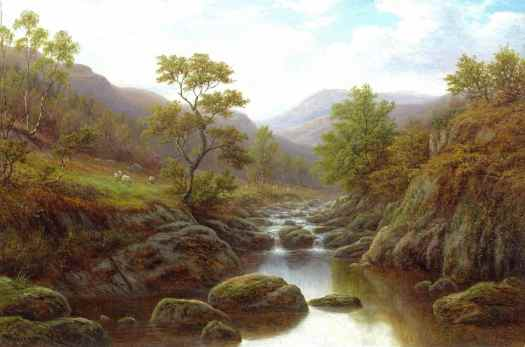 William Mellor - Autumn on the Lledr sheep river