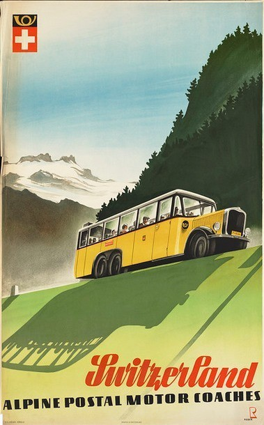 by Bernhard REBER 1936, Switzerland, Alpine postal motor coaches