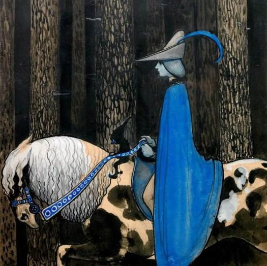 John Bauer (1882 - 1918) c1913 illustration 'The Blue Cloak'.