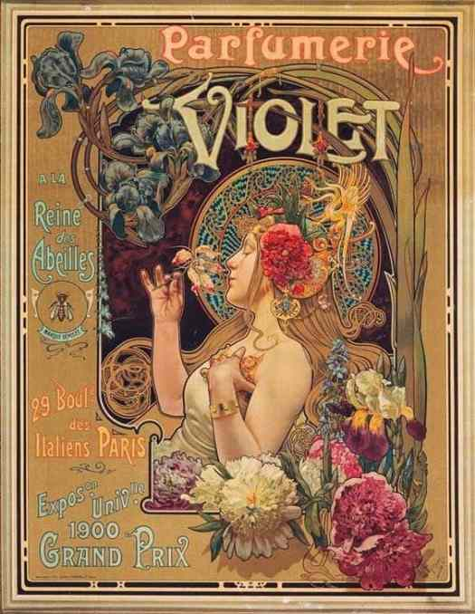 A 1901 advertisement for Parfumerie Violet by Louis Théophile Hingre