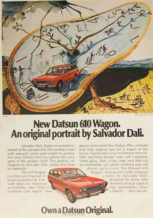 A 1972 car ad featuring ad by the one and only Salvadore Dali surrealism