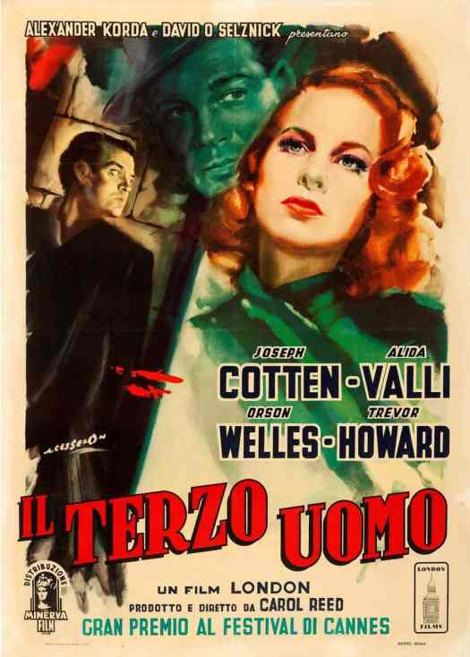 Angelo Cesselon Italian release poster for The Third Man (1949) green