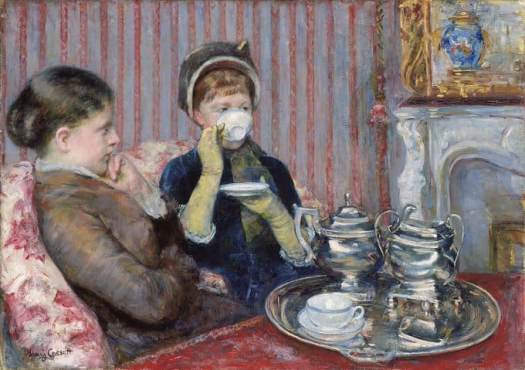 Five O'Clock Tea, by American painter Mary Cassatt (1880). Museum of Fine Arts, Boston