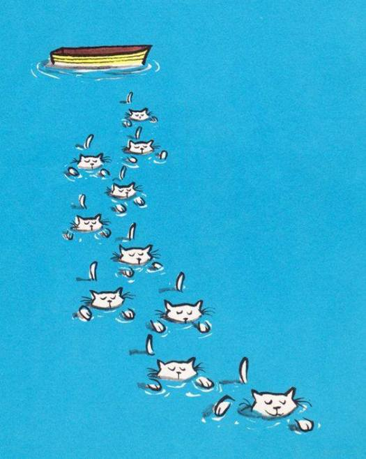 Roy McKie, illustration from Bennett Cerf's Book of Animal Riddles, 1964 cat