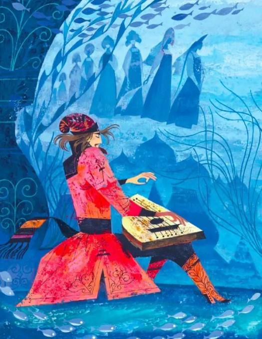 Aleksander Lindeberg (1917-2015) 1970s Russian folk tale illustration, Sadko
