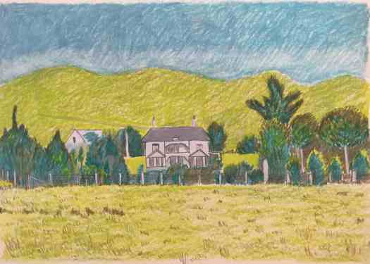 Coloured pencil sketch of Chesney World on Karori World, home of Katherine Mansfield 1893-1898 based on 1900 photograph