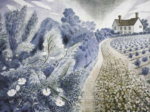 Farm House and Field, Eric Ravilious, 1941. It depicts Ironbridge Farm, Shalford, Essex