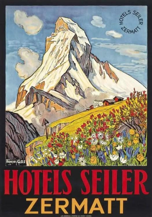 François Gos (1880-1942) HOTELS SEILER, ZERMATT mountain