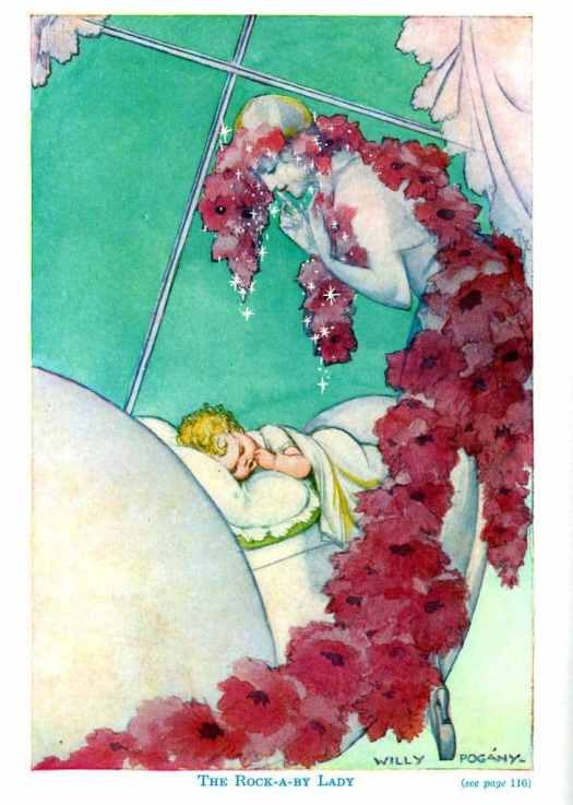 Illustrated by Willy Pogány from My Poetry Book (1934) for the poem Rock-a-By Lady by Eugene Field