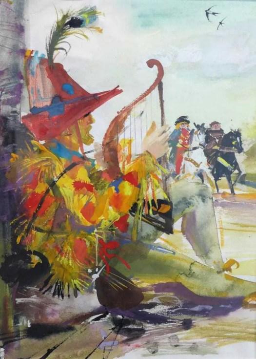 Janusz Grabiański, 1929 - 1976, Polish illustrator and graphic designer for Howard Pyle, Marry Adventures of Robin Hood, 1961