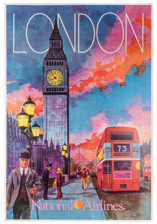 London poster for National Airlines by Bill Simon. Simon created a series of lushly colored and detailed posters in the 1960's for National Airlines